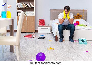 haus nach putzen party weihnachten mann stockfotografie suche bilder und foto clipart. Black Bedroom Furniture Sets. Home Design Ideas