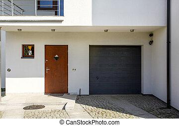 haus, neu , weißes, garage