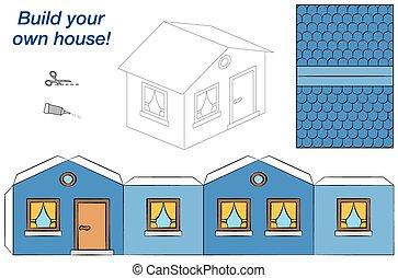 Haus Modell Papier Gelber Schwer Sie Schnitt Partitur