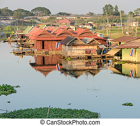 haus, schwimmend, dorf, thailand