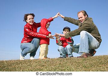 haus, spielende , familie