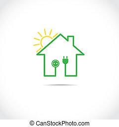 Exceptional ... Haus, Symbol, Als, Einfache , Solare Elektrizität,... ...