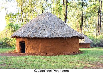 haus, traditionelle , stammes-, kenianer, leute