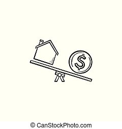 haus, und, dollar, auf, wippe, hand, gezeichnet, grobdarstellung, gekritzel, icon.
