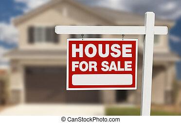 haus verkauf, immobilien- zeichen, und, neues heim