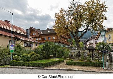haus, vila, centro, em, austríaco, alps.