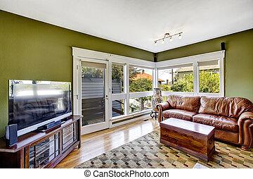 Ledercouch Grün senf wände grün inneneinrichtung daheim bilder