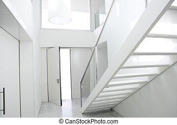 hause innere, stufe, weißes, architektur, vorhalle