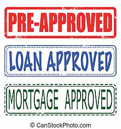 hausfinanzierung, darlehen, pre-approved, satz, briefmarke