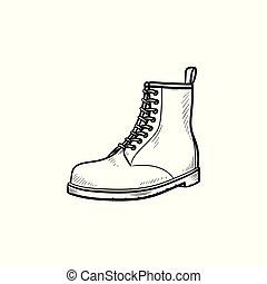 hausse botte, main, dessiné, contour, griffonnage, icon.