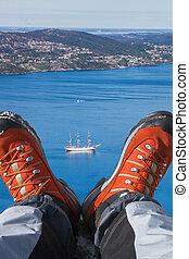 hausse bottes, croisière, fjord, bateau, norvège, bergen