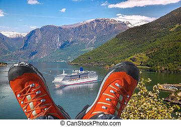 hausse bottes, croisière, fjord, bateau, norvège, flam