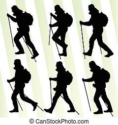 hausse homme, aventure, nordique, marche, à, polonais, vecteur, illustration