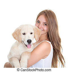 haustier, frau, junger, hund