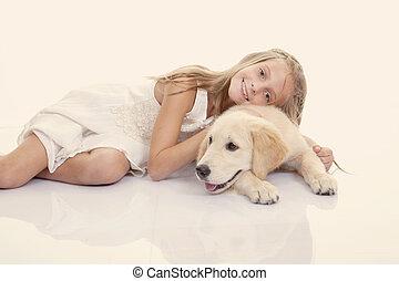 haustier, m�dchen, familie, umarmen, hund