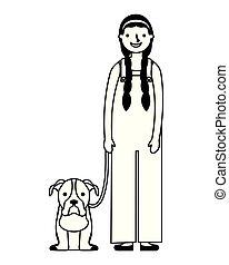 haustier, m�dchen, hund, sie, glücklich