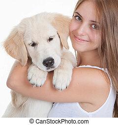 Haustier, m�dchen, junger Hund,  labrador, Besitz