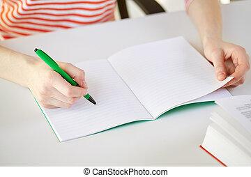 haut, écriture, cahier, femelle transmet, fin