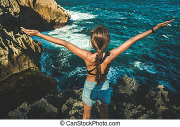 haut., élevé, île, jeune, bras, penida, girl, nusa