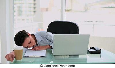 haut, épuisé, réveiller, femme affaires