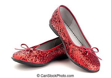 haut, étincelant, rouges, fin, horizontal, pantoufles