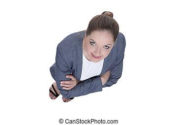 haut., affaires femme, concept., regarder, top., vue