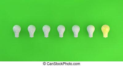 haut, ampoules, lumière, une, lit, rang
