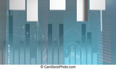 haut, analyse, digitalement, animation, engendré, obtenir, graphique, flèches