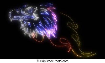 haut, animation, numérique, aigle, éclairage, style, néon, ...