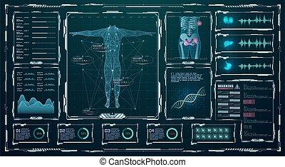 haut, app., diagnostique, high-tech, health., infographic., rein, adn, interface., balayage, ui, exposer, foie, hud, tête, virtuel, monde médical, graphique, moderne, recherche, futuriste, humain