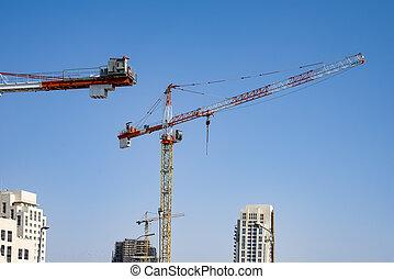 haut-ascension, ciel, construction bâtiments, grues, arrière-plan bleu, site