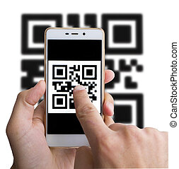 haut., balayage, barcode, isolé, white., fin, utilisation, smartphone