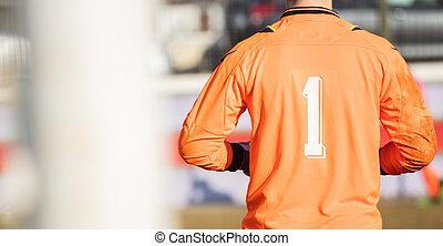haut, bannière, résumé, détails, space., derrière, fond, fin, vue., football, goal