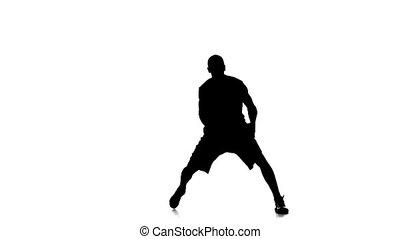 haut., basket-ball, sauts, haut, joueur, balle, fond, blanc, jets