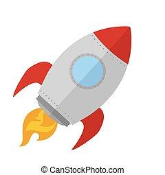 haut, bateau, début, concept, fusée