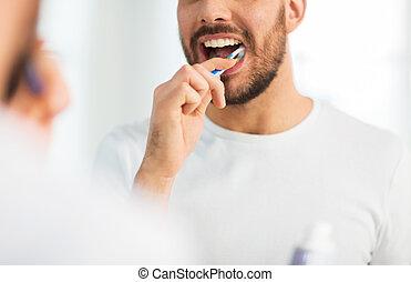 haut, brosse dents, dents nettoyage, fin, homme