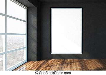 haut., bureau, plancher, mur, affiche, moderne, vide, bois, noir, fenêtre, grand, blanc, railler