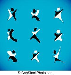 haut., business, atteindre, réussi, résumé, bras, illustration, symbole., carrière, vecteur, excité, homme