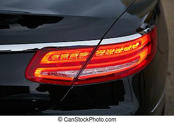 haut., business, lumière, voiture., rouges, fin, arrière