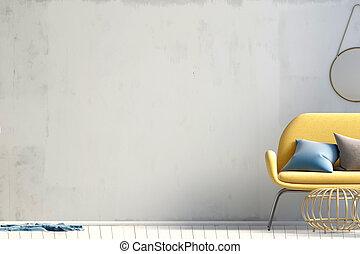 haut., café, illustration., mur, moderne, sofa., intérieur, table, railler, 3d