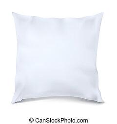 haut., carrée, vector., blanc, oreiller, railler