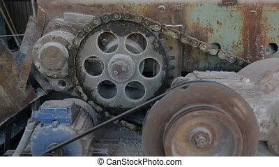haut., chaîne, convoyeur, conduire, mécanisme, noeud, fin, ...