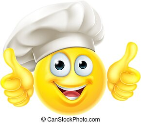haut, chef cuistot, pouces, cuisinier, dessin animé, emoji