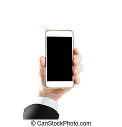 haut., chemise, screen., isolé, veste, téléphone, arrière-plan noir, vide, fin, blanc, possession main