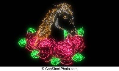 haut, cheval, roses, animation, numérique, éclairage, style...