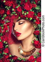 haut., coiffure, fleur, beauté, faire, couronne, roses, mannequin, fleurs, girl, rouges