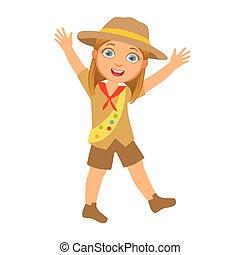 haut, coloré, elle, caractère, bras, scout, girl, élévation, heureux
