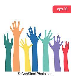 haut, coloré, mains