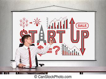 haut, concept, business, début