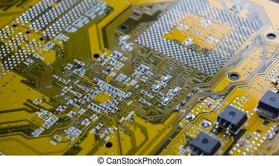 haut., conseil pc, circuit, fin, électronique